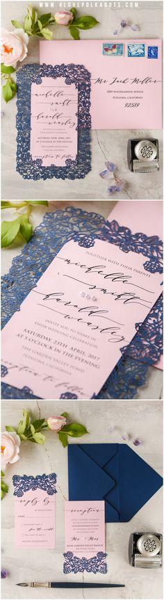 Lasercut Lace Pink & Navy Wedding Invitation #pink #navy #weddingstationery #calligraphy #romantic #weddingideas