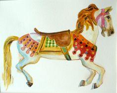 Original Watercolor Carousel Horse Carousel Art Childs Room Decor by RenateDiroll on Etsy