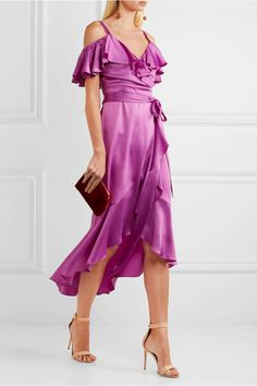 Temperley London - Carnation Cold-shoulder Ruffled Satin Midi Dress - Magenta - UK16