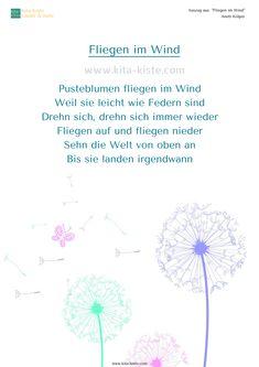 """""""Fliegen im Wind"""" - ein Pusteblumen-Gedicht & Bewegungsspiel für den #kindergarten  - dazu gibt es ein Lied auf youtube """"KitaKiste"""": https://youtu.be/RtZ1dazVA0M   -   dreh dich, fliege im Raum, stell dich auf einen Stuhl und lande liegend auf der Erde"""