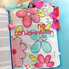 Bible Journaling by @plyswthscissors   Romans 8:1