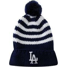 7a7ddc87bc7 New Era Los Angeles Dodgers Ladies Chunky Stripe Cuffed Beanie with Pom -  Royal Blue