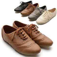 New Womens Shoes Classics Lace Ups Dress Oxfords Low Flats Heels Multi Colored in Flats & Oxfords | eBay