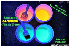 Glowing Chalk Paint - perfect for a glow party! Only three ingredients!!