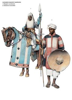 1881–1885 Mahdist revolt. Baqqara Horseman & Sudanese Footsoldier. Not sure of the sources for this plate and the heavily quilted armour is not common in other illustrations of Sudanese & Madhist troops. Both figures look for appropriate for the Muslim forces of West Africa. Can anyone clarify?