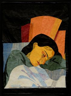 "Natasha Metaxa ""Sleeping at the sunlight"" collages with handmade paper, 70x50cm"