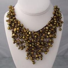 Cotton and Green Pearl Waterfall Bib Necklace (Thailand) #odotco #overstock #worldstock