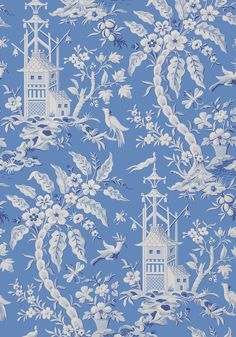 PAGODA GARDEN, Blue, T14204, Collection Imperial Garden from Thibaut