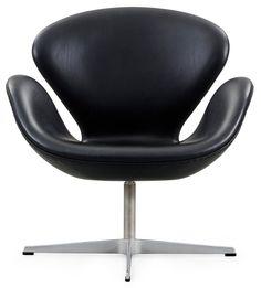 Arne Jacobsen Swan Chair in Black Leather by Fritz Hansen from Stardust.com