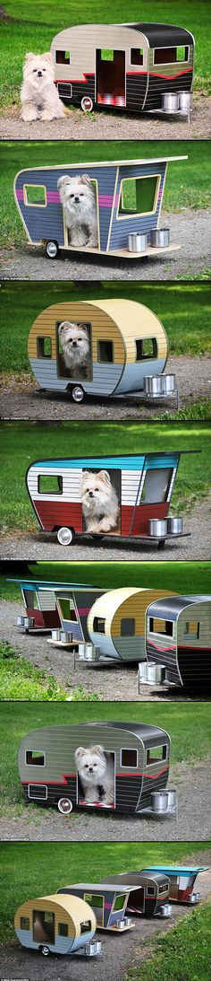 Pet Camper is a house for small dogs by Vancouver-based company Straight Line Designs that's shaped like a classic car trailer, complete with wheels, custom license plates, and a pair of small bowls. The current limit for the diminutive recreational vehicles is 20 pounds, though the company is looking into creating a larger version for bigger pets.