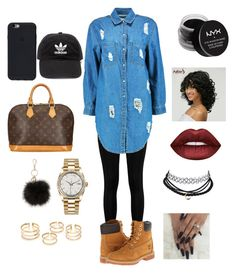 Untitled #25 by queendaiii on Polyvore featuring polyvore, fashion, style, Boohoo, Timberland, Louis Vuitton, Rolex, adidas, NYX, Lime Crime and clothing