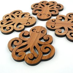Bamboo Happy Octopus Coasters: Wood Ocean Nautical Decor (Set of from graphicspaceswood on Etsy. Saved to America needs more octopi. Woodworking Patterns, Woodworking Shop, Woodworking Crafts, Clear Gift Boxes, Scroll Saw Patterns Free, Free Pattern, Pattern Art, Laser Cutter Projects, Wood Coasters