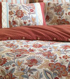 Rusty red with gold and pale blue accents - lovely duvet cover! (Eastern Accents)