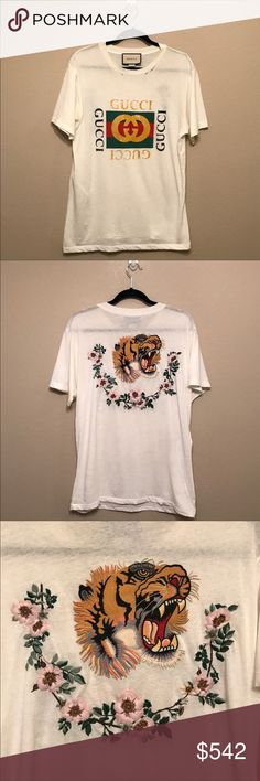 Gucci distressed printed cotton jersey Gucci distressed printed cotton jersey t-shirt. With embroidered back. Size XS . Oversize fit. Only worn three times. Kept the tag. Torn holes are made for vintage effects. Welcome bundle and offer. No swap or trade. Thanks😊 Gucci Tops Tees - Short Sleeve
