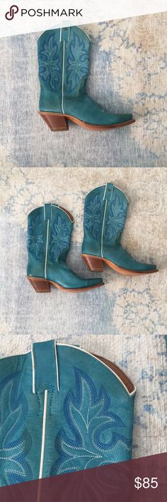 Blue, Genuine Leather Harley-Davidson Cowboy Boots Funky Harley-Davidson Cowboy boots that will bring your inner cowgirl to the surface. Brand new, genuine and absolutely adorable. Harley-Davidson Shoes