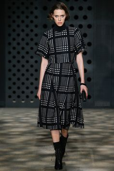 ADEAM | Fall 2015 Ready-to-Wear | 15 Monochrome checkered short sleeve cropped top and midi skirt