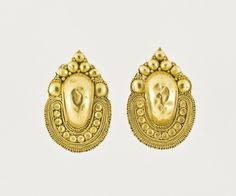 """Pair of Earrings """"a grappolo"""" Italy, Etruscan, late 4th or 3rd century B.C. Jewelry and Adornments; earrings Gold"""