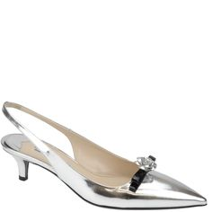 #Prada, sling back in silver mirror, with a black and silver bow. From Spring Summer 2014 collection. Available from wunderl.com