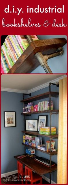 AWESOME tutorial for DIY industrial shelves and desks by Designer Trapped in a L. - AWESOME tutorial for DIY industrial shelves and desks by Designer Trapped in a Lawyer's Body for - Desk Shelves, Pipe Shelves, Bookshelves, Bathroom Shelves, Industrial Bookshelf, Industrial House, Industrial Pipe, Industrial Design, Kitchen Industrial