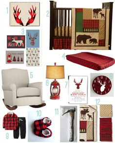 I just love the lantern lamp! Maybe I could find a blue or green plaid for wall art instead of red. Buffalo Plaid Baby Nursery
