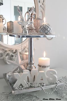 My white and silver christmas decoration. - Home White Home -blog