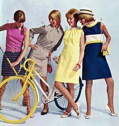 1967 sheath dress late 60s navy blue yellow tan pink models vintage fashion mod looks classic knee