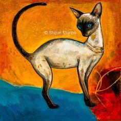 Animals - Shijun Art  #Art #OilPaintings  #Catart  #painting Small Paintings, Original Paintings, Wood Paneling, Cat Art, Scooby Doo, Birds, Animation, Canvas, Artist