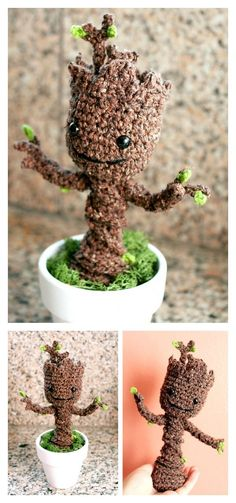 Free Crochet Pattern: Potted Baby Groot from Guardians of the Galaxy #CrochetPatterns