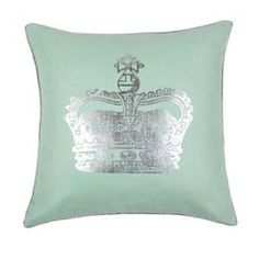 """Crown-print throw pillow that reverses to solid mint. Feather down insert included.     Product: Pillow Construction Material: Linen cover and feather down fill Color: Mint and silver   Features:  Pillow reverses to solid mint    Hidden zipper closure   Piped edge seamsInsert included    Dimensions: 18"""" x 18""""    Cleaning and Care: Dry clean"""