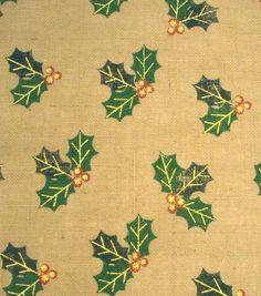 Holiday Inspirations™ Christmas Fabric-Burlap Holly Metallic