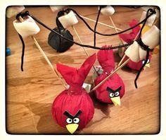 Angry Birds traktatie van mandarijn, spekjes en dropveter