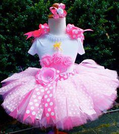 Pinkalicious Couture Shabby Chic Cupcak & Polka Dot Sewn Ribbon Tutu Set-