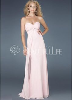 Dess Chiffon Sweetheart Beadings Empire Maxi Evening Dress Dresses Light Pink