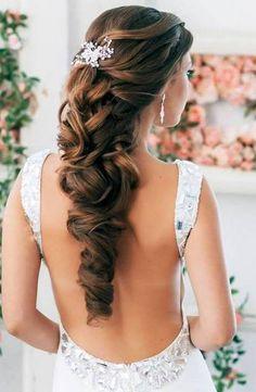 elegant long curly wedding hairstyle
