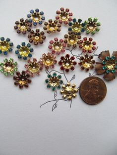Vintage Swarovski Mixed Colors Crystal Flowers In by WhoKnowsWhat