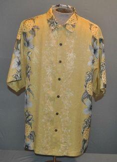 TOMMY BAHAMA Mens sz XL Gold Floral  amp  Pineapple Silk S S Aloha Hawaiian 8279896d6
