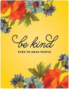 Be kind, even to mean people.