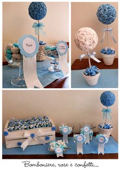 These are the center arrangements that I'm making for my best friends baby shower. I think they are cute and they scream Blue Centerpieces, Birthday Party Centerpieces, Birthday Decorations, Baby Shower Balloons, Birthday Balloons, Baby Shower Parties, Boy First Birthday, First Birthday Parties, First Birthdays