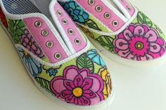 punk projects: Custom Flower Canvas Shoes