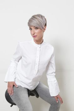 Ruffle Blouse, Long Sleeve, Sleeves, Tops, Women, Fashion, Moda, Long Dress Patterns, Fashion Styles