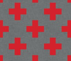 DECALS FOR STAIRS:  plus_one_red_linen fabric by holli_zollinger on Spoonflower - custom fabric