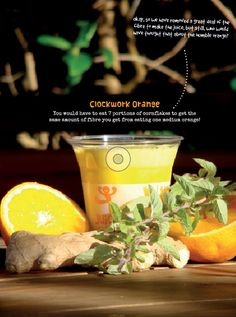 """by Jason Vale Juice Master  4 med. oranges, peeled; 1"""" ginger; 1 large handful mint; 1 small handful ice.  Juice oranges and ginger.  Then, add mint and ice.  Blend 60 seconds.  Enjoy!"""