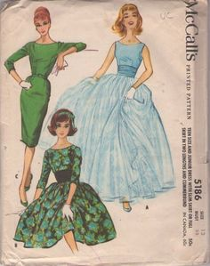 McCall's 5186 Vintage 50's Sewing Pattern INCREDIBLE Grace Kelly Double Chiffon Ball Gown Skirt Wedding Dress, Party Ball Gown, Mad Men Joan Wiggle Dress & Ruched Cummerbund Sash #MOMSPatterns