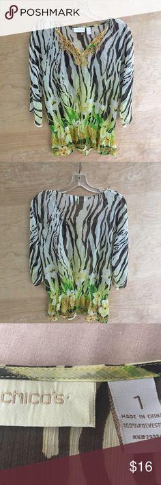 Chico's Zebra floral blouse Chico's Zebra floral blouse Chico's Tops Blouses