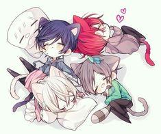 Soraru, Aho no Sakata, Mafumafu and Urata Anime Neko, Cute Anime Chibi, Kawaii Chibi, Cute Anime Boy, Anime Kawaii, Kawaii Cute, Manga Anime, Anime Art, Anime Boys