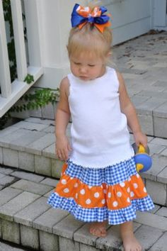 University of Florida Children's Clothing, Girls Gator Dresses, Boutique Style Children's Clothing including Pillowcase Dresses and Twirl Skirts. Personalized. Children's Gator Clothing Clothes