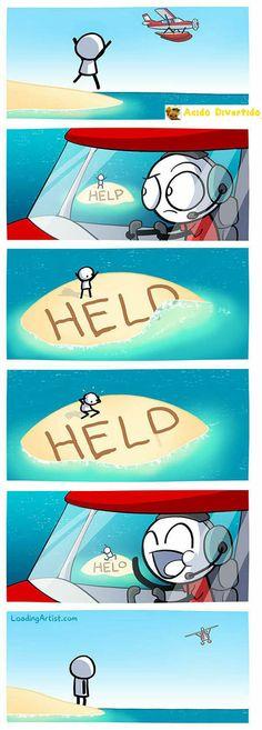 Mensaje de ayuda desde una isla desierta