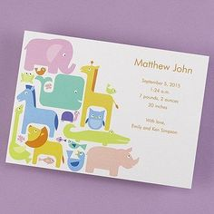 Contemporary Animals - Baby Announcement - Bright White   Announce the birth of your child with all of these bright zoo animals on a bright white card.  Dimensions: 7 3/4 x 5 1/2 Card• Price Includes: Printed card and blank bright white envelopes • Production Time: 3 Working Days