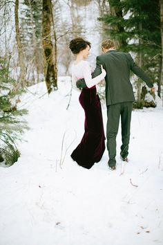 Magical Valentine's Love Shoot In The Snow | Bridal Musings - I didn't know which photo to pin from this shoot. Amazing Dress