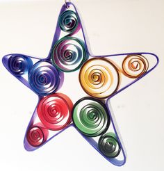 Large Quilled Scroll Star Use as decoration ornament Quilled Paper Art, Paper Quilling, First Anniversary Paper, Traditional Anniversary Gifts, Holiday Ornaments, Christmas Ornament, Cute Sun, Star Decorations, Star Ornament